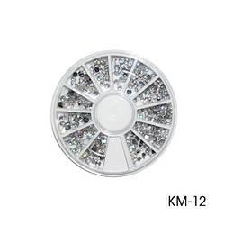Декоративні стрази круглої тарі. KM-12