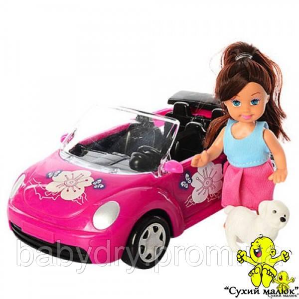 Лялька Аріна на автомобілі з собачкою 21,5см.  - CM01538