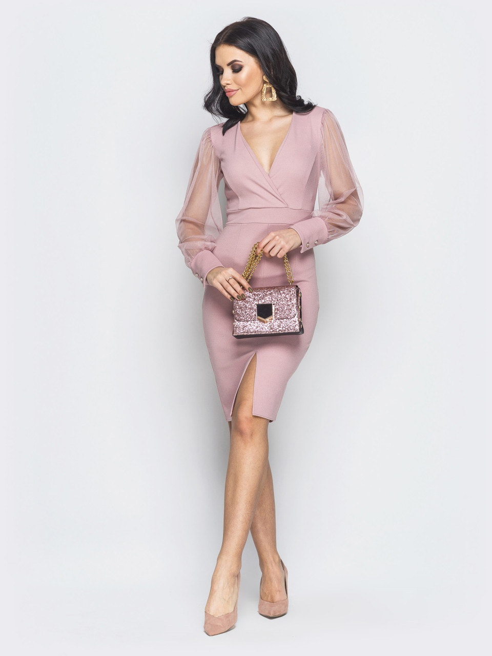 720f4a71d12 💍Розовое облегающее платье с рукавам из фатина (с V-образным вырезом)