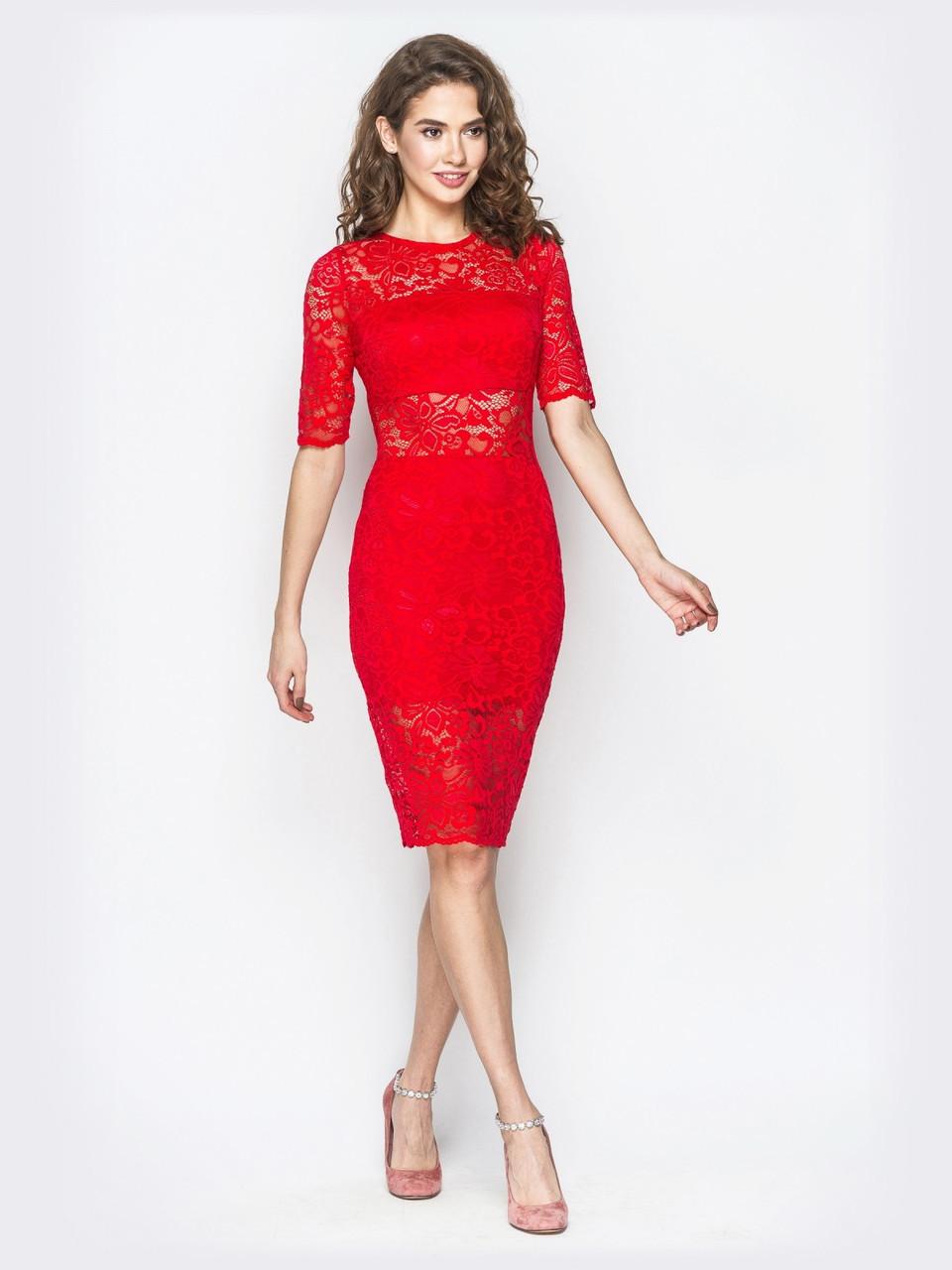 2d78b7a5d4d 💍Яркое вечернее платье-миди из гипюра (красное