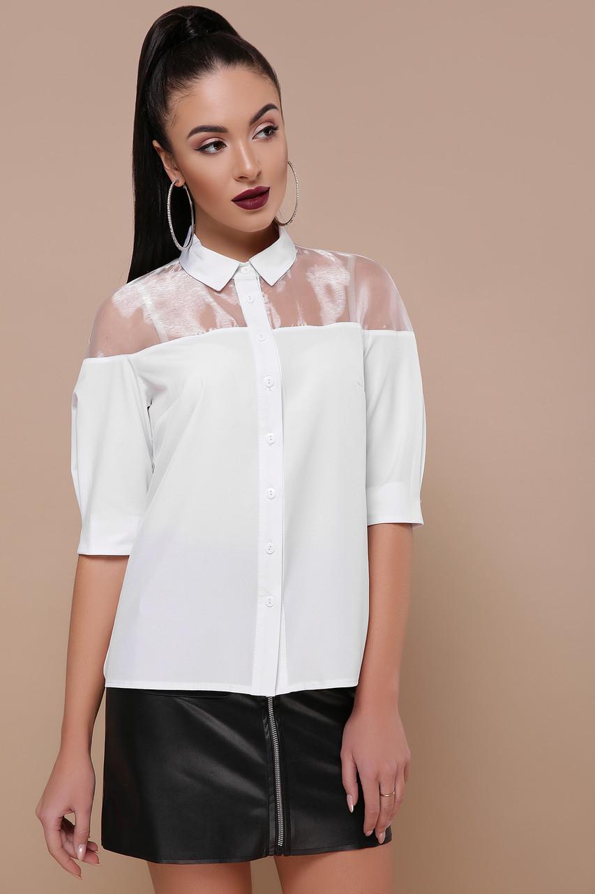 dd285a4ca1d Белая стильная женская блуза со вставками  продажа