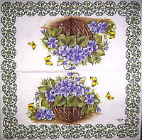 Коллекционная салфетка для декупажа Mamiko Yamashita Корзина с фиалками 4170