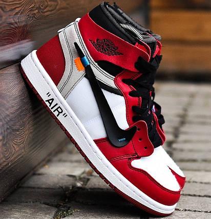 """Баскетбольные кроссовки в стиле OFF-WHITE x Nike Air Jordan 1 """"Chicago"""", фото 2"""
