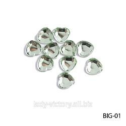 Світло-зелені прозорі стрази «Сердечка». BIG-01