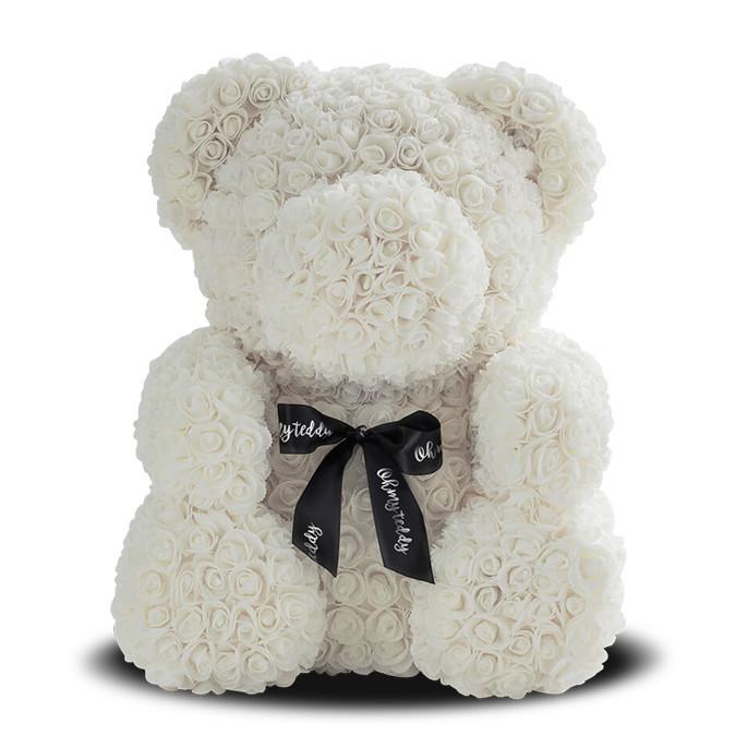 Мишка из роз Bear of Roses Бежевый 25 см