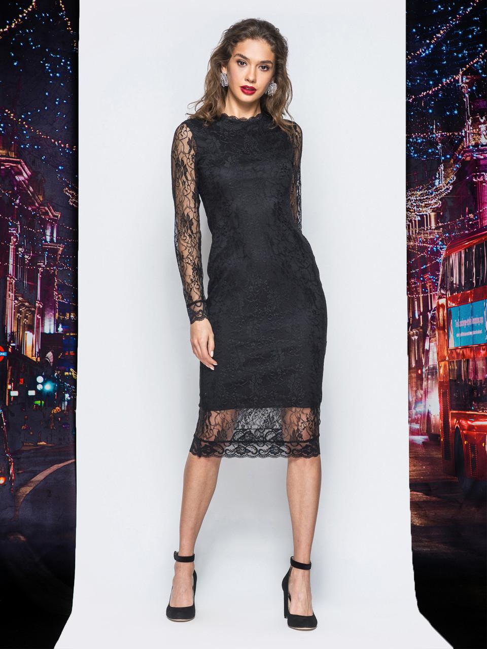 33a707aaa302a1a 💎Приталенное платье из гипюра с поясом (черное, с длинными рукавами) /  Размер