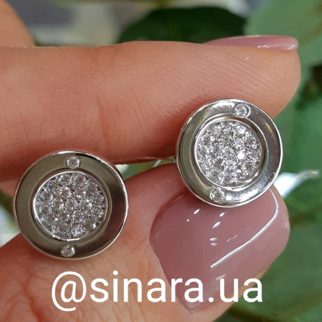 Серебряные серьги гвоздики Булгари диам. 11 мм - Крупные пусеты Булгари серебро