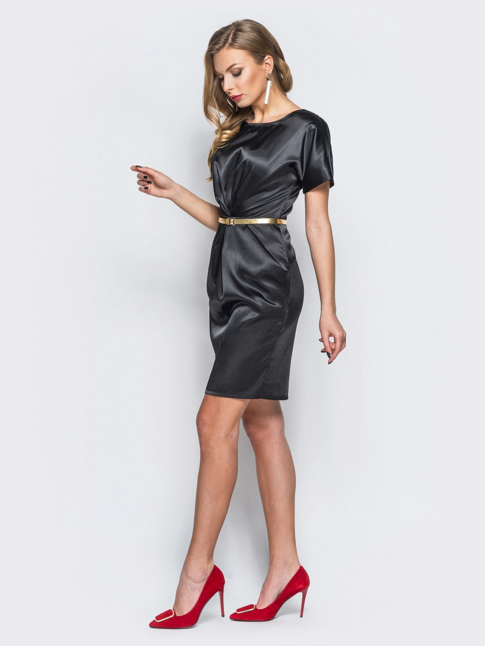 8658a6d57bd 👶Атласное платье-футляр с драпировкой по талии (черное