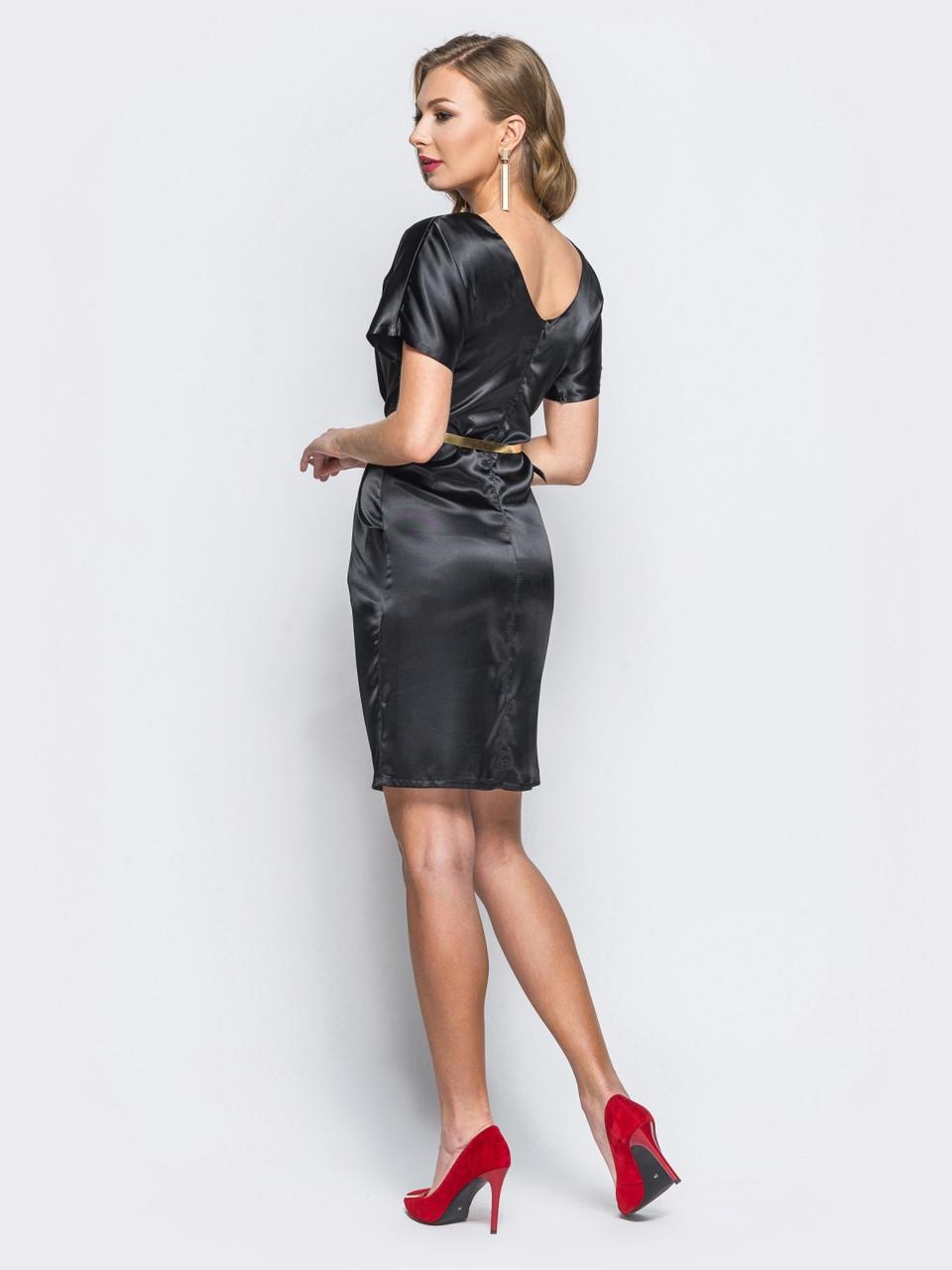 5fadb685759 ... 👶Атласное платье-футляр с драпировкой по талии (черное