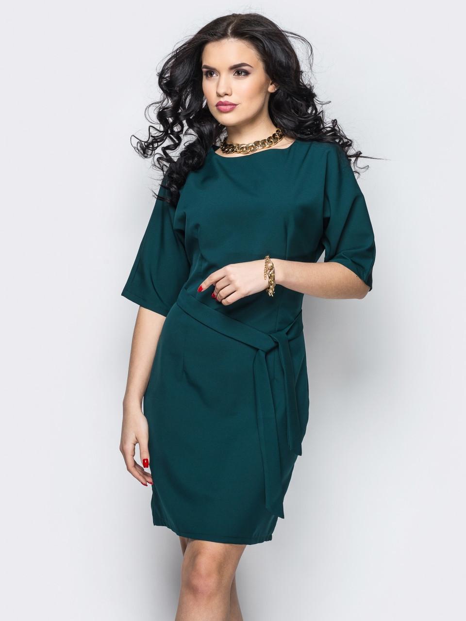 8acec685525 💍Изумрудное платье с цельнокроеным рукавом (с поясом