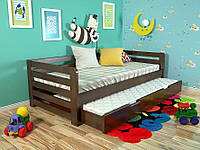Детская деревянная кровать из массива дерева -Немо, с дополнительным спальным местом. 80*190