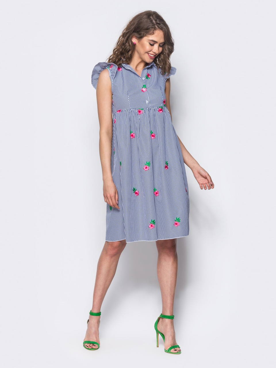 e0698698785 💍Легкое платье-рубашка с рукавом