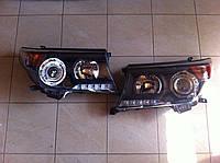 Передние фары Toyota Land Cruiser 200 черные