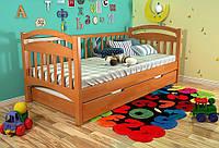 Детская деревянная кровать из массива дерева -Алиса, с дополнительным спальным местом. 80*190