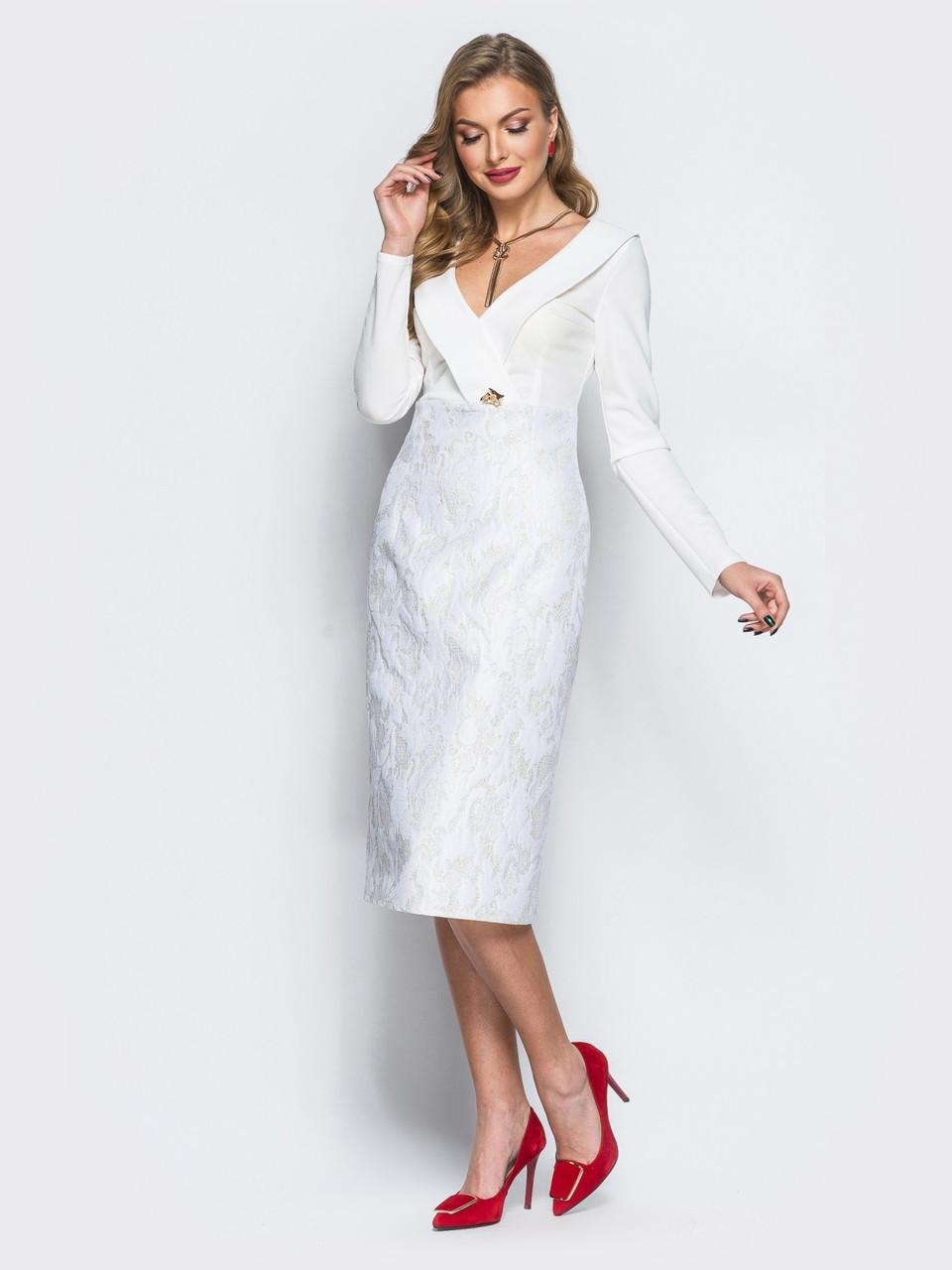 40d5b8cb7e6 💎Винтажное Платье-футляр с V-образным Вырезом (белое