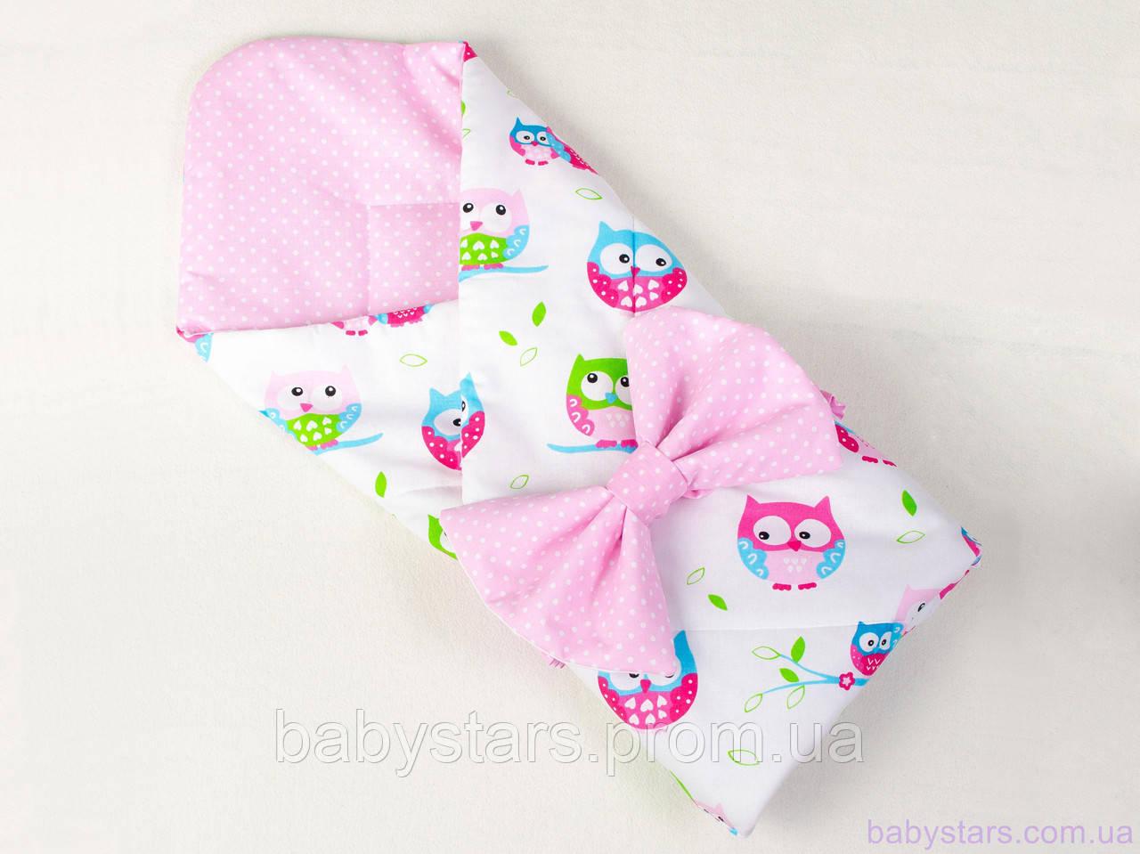 """Конверт одеяло для новорожденного на выписку 80х85 см, """"Нежные совушки"""" цвет розовый"""