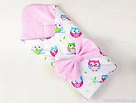 """Конверт одеяло для новорожденного на выписку 80х85 см, """"Нежные совушки"""" цвет розовый, фото 1"""