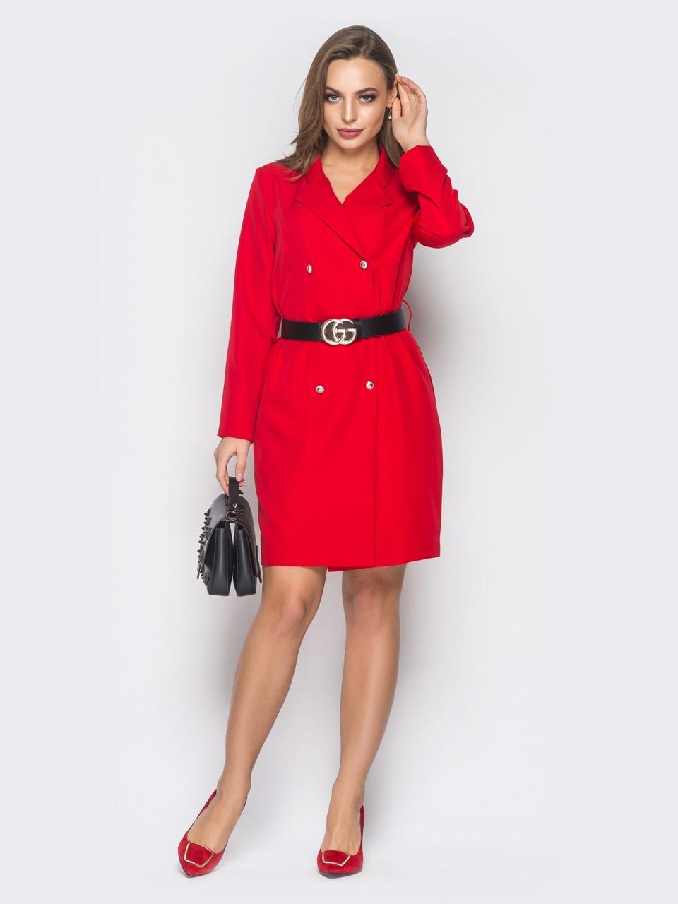 b8531ec3084 💎Красное Платье-пиджак с Лацканами (двубортное
