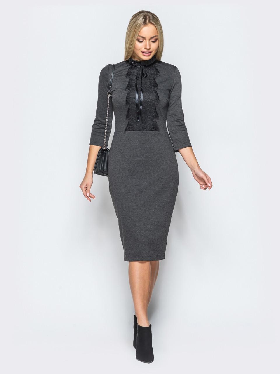 1c321f44fec 💎Серое трикотажное платье с кружевной вставкой (платье-футляр)   Размер 44-