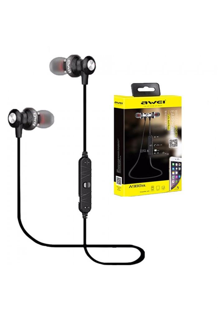 Бездротові Bluetooth-навушники гарнітура Awei A980BL Black