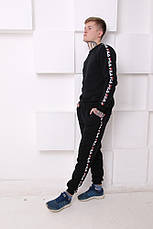 Мужские утепленные спортивные штаны с лампасами в стиле Fila Black/White, фото 3