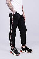 Мужские утепленные спортивные штаны с лампасами в стиле Fila Black/White