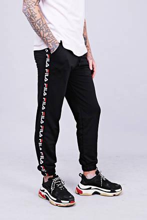 Мужские утепленные спортивные штаны с лампасами в стиле Fila Black/White, фото 2