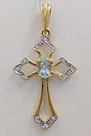 Подвеска золотая с бриллиантами  и топазом