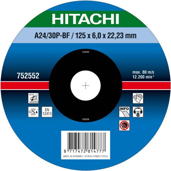 Диск для зачистки металла 125х6,0х22,2  Hitachi/hikoki 752552