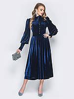 0cacf5af5d0 🌙Роскошное велюровое платье в ретро стиле с объемной юбкой (синие)    Размер 44