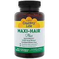 Витамины для волос, кожи, ногтей, Country Life, Maxi-Hair Plus, 5000 мкг, 120 капсул