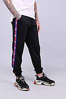 Мужские утепленные спортивные штаны с лампасами в стиле Champion Black\Red\Blue
