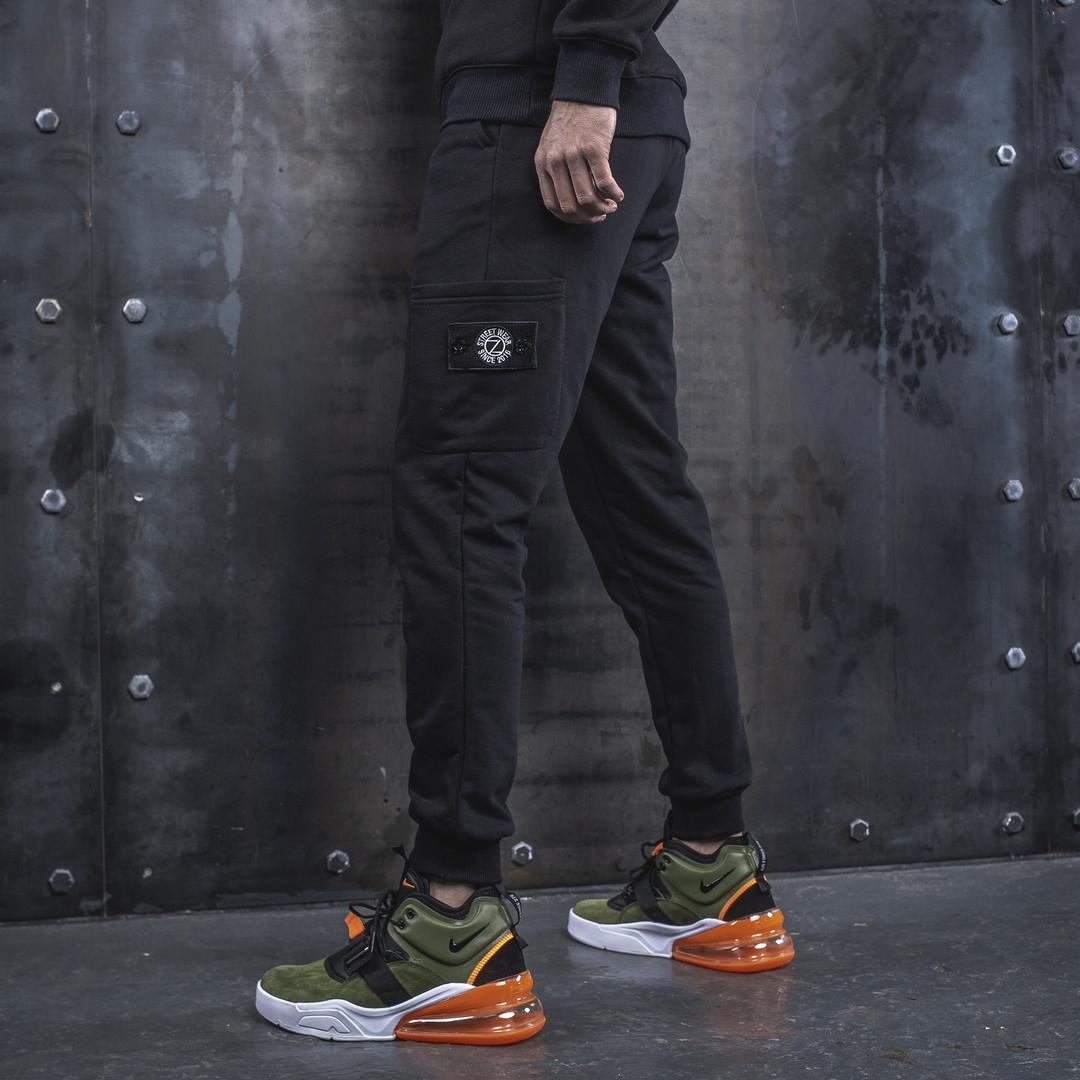 Спортивные штаны BEZET Original Black'19, мужские черные спортивные штаны, черные спортивные штаны с патчем