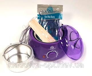 Набор воскоплав баночный+воск в гранулах+10 шт шпателей Global PRO WAX -100 фиолетовый