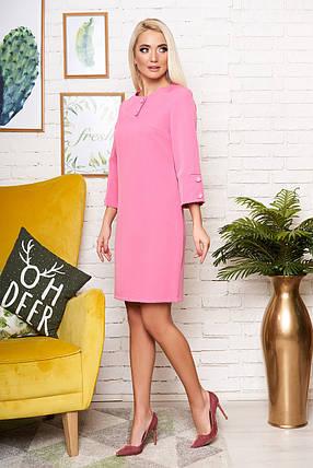 Красивое платье миди полуоблегающее рукав три четверти розового цвета, фото 2