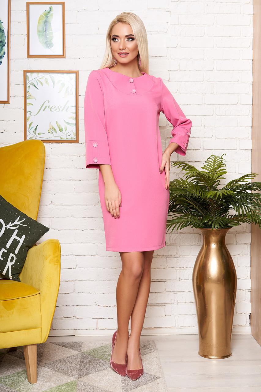Красивое платье миди полуоблегающее рукав три четверти розового цвета