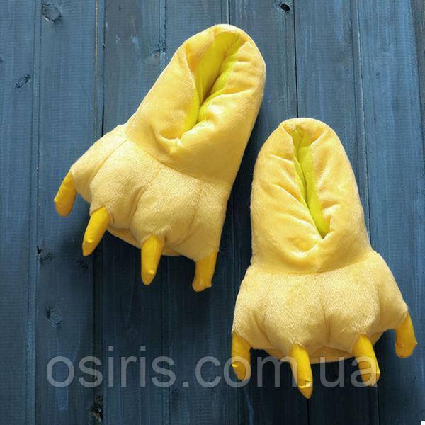 Тапки лапки подростковые / тапочки когти плюшевые с задниками желтые, 34-38 размер