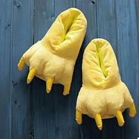 Тапки лапки подростковые / тапочки когти плюшевые с задниками желтые, 34-38 размер, фото 1