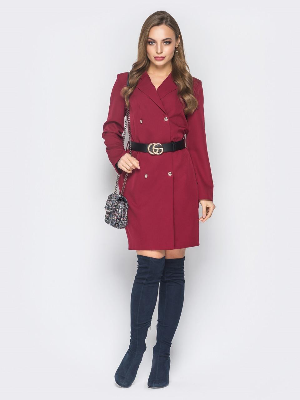 634e788799f 🌙Платье-пиджак с лацканами и ремнем (бордовое