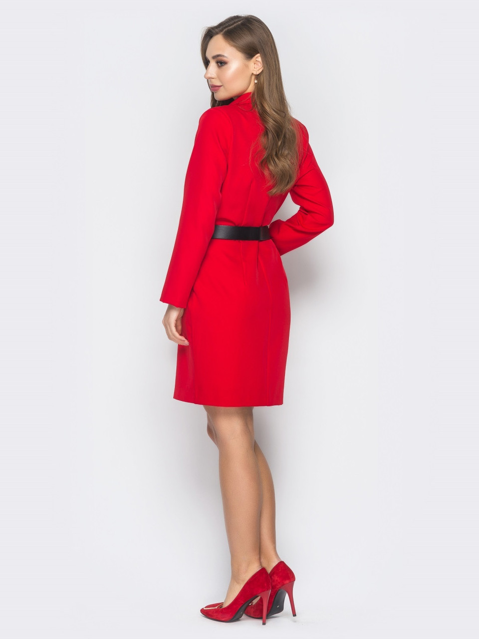 07b11621723 ... 🌙Красное платье-пиджак с лацканами (двубортное