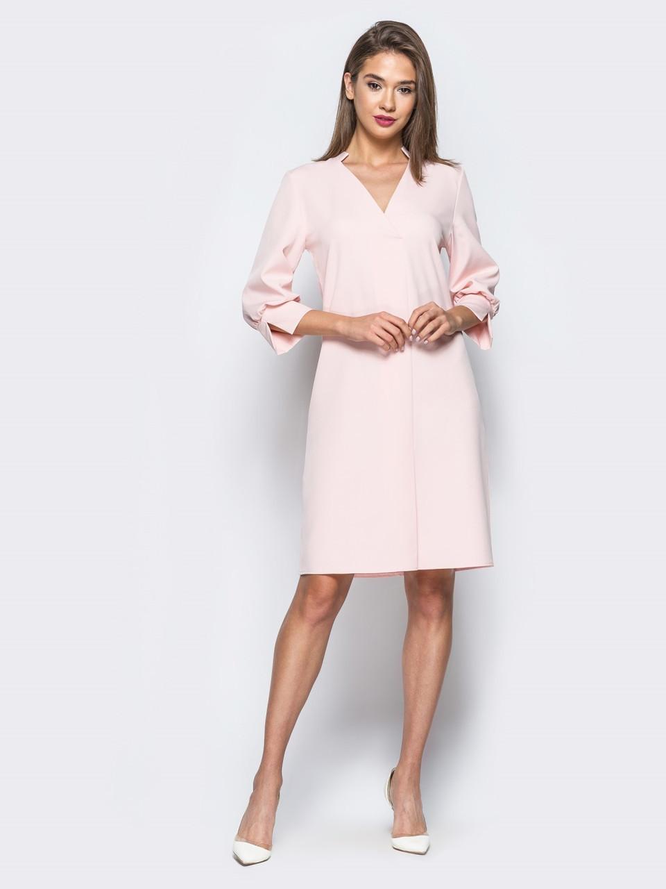 13e18fc94c5 🌙Розовое платье-миди из костюмной ткани (с V-образным вырезом ...