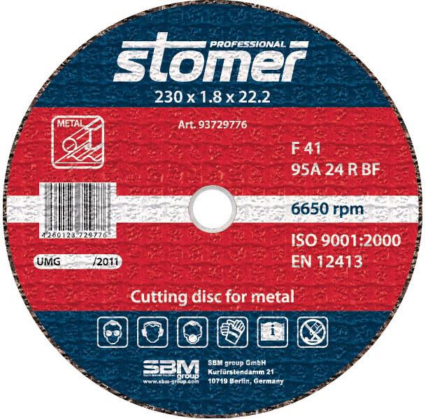 Диск отрезной по металлу 230х1.8х22,2 Stomer