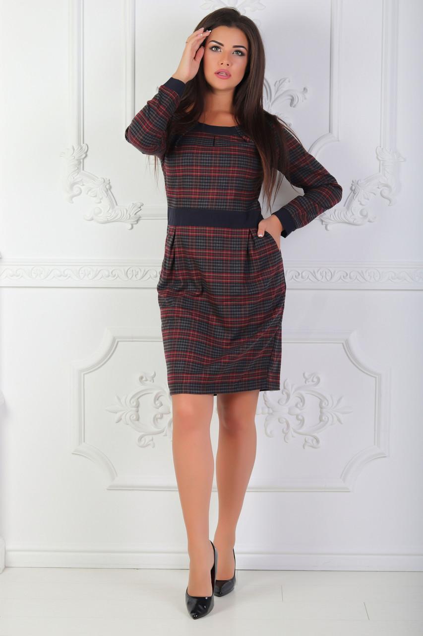 Теплое платье футляр в клетку с отрезной талией карманами и манжетами 48 р