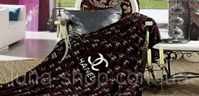 858b3cca0521 Плед-покрывало с брендовым логотипом Шанель ( горький шоколад) из  микрофибры 160*220
