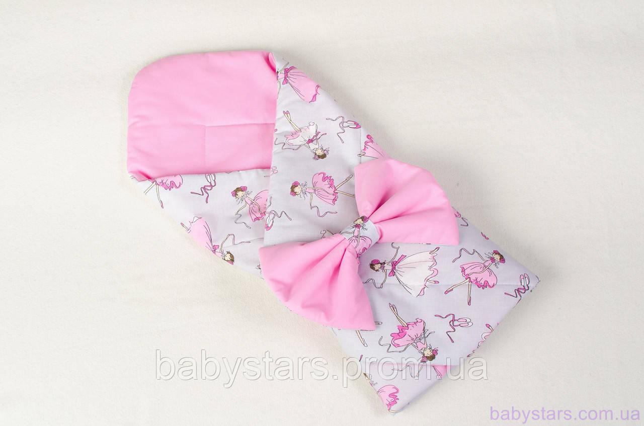 """Конверт-одеяло на выписку демисезонный 80х85 см, """"Балеринки"""" цвет розовый"""
