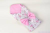 """Конверт-одеяло на выписку демисезонный 80х85 см, """"Балеринки"""" цвет розовый, фото 1"""
