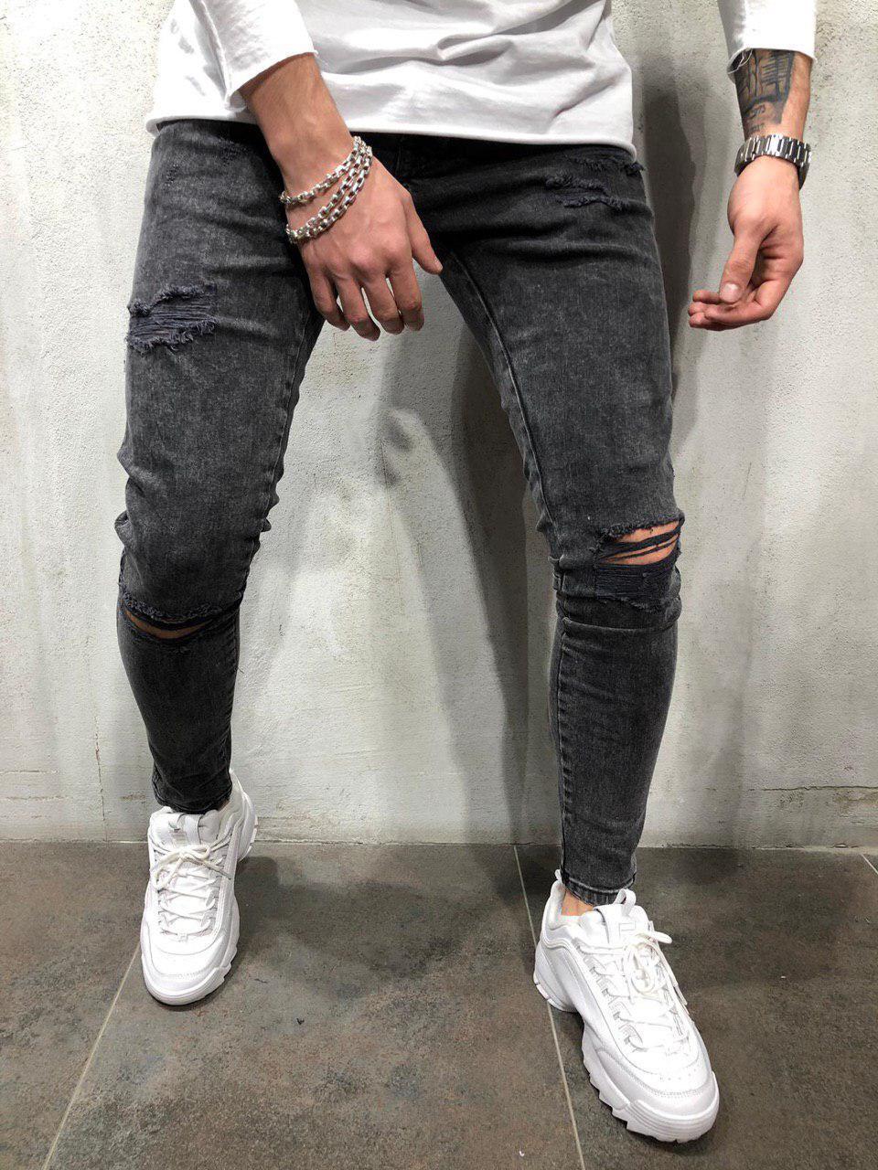 4eb5c52f814 Мужские зауженные джинсы рваные черные с двойными швами - Интернет-магазин  обуви и одежды KedON