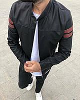 Мужская весенняя куртка из кожзама черная с бордовыми вставками 1b0b82dacbcb3