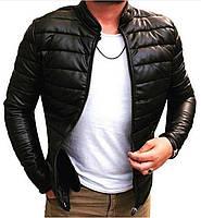 Мужская весенняя куртка из кожзама черная стеганая
