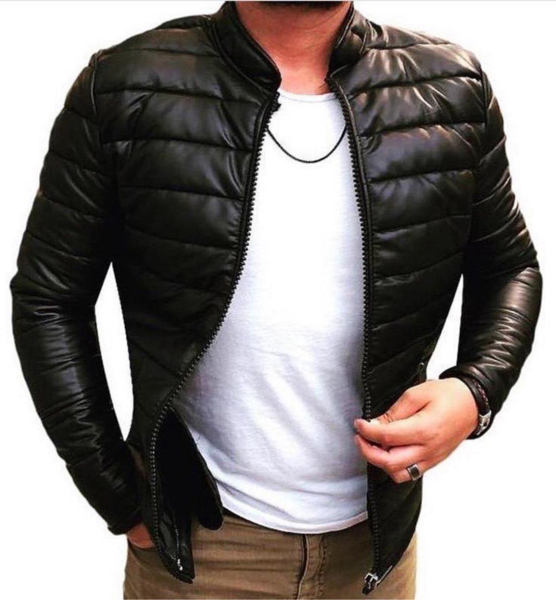 5689f97dc46f3 Мужская весенняя куртка из кожзама черная стеганая - Интернет-магазин обуви  и одежды KedON в